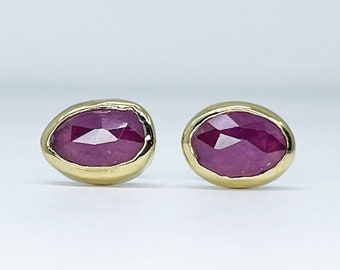 Magenta Sapphire Stud Earrings Handmade with 18k Gold and Sterling Silver
