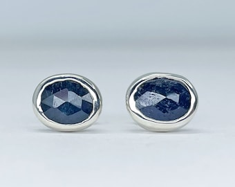 Blue Sapphire Stud Earrings Handmade with Sterling Silver