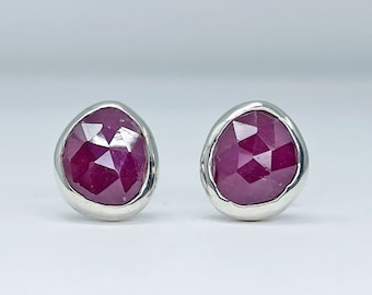 Magenta Sapphire Stud Earrings Handmade with Sterling Silver