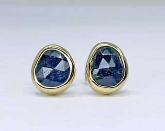 Blue Sapphire Stud Earrings Handmade with 18k Gold and Sterling Silver