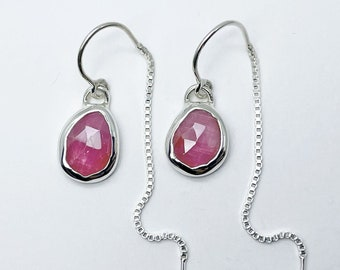 Pink Sapphire Ear Threads Handmade with Sterling Silver