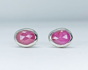 Pink Sapphire Stud Earrings Handmade with Sterling Silver