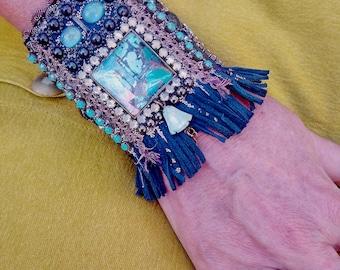 "Cuff bracelet ""ICONS / L'heure bleue"" , baroque cuff, bohemian cuff, leather bracelet,"