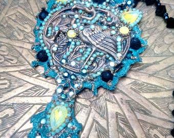 """Necklace""""FLAMINGO'S DREAM"""", long necklace, Art Nouveau necklace, Baroque necklace"""