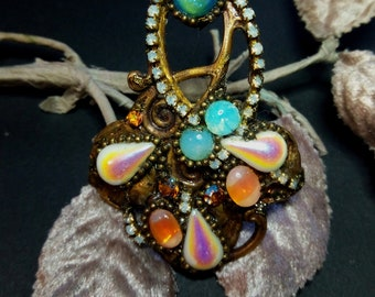 "Ring ""AURORA BOREALIS"", Art-Nouveau ring, baroque ring, XXL ring"