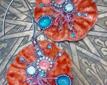 """Earrings """"VELVET FLOWERS, Tangerine"""" , flower earrings, baroque earrings, orange earrings"""