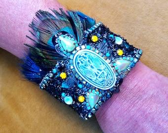 "Cuff bracelet ""ORIENTS"", baroque bracelet, baroque cuff, Art Nouveau bracelet, bohemian bracelet,"