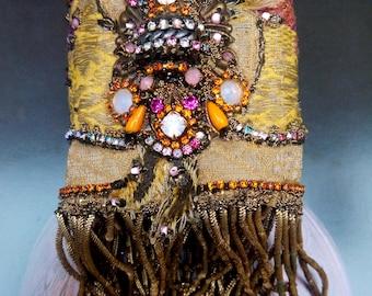 """Cuff """"LA RENAISSANCE""""  bracelet, baroque bracelet, baroque cuff, textile jewelry"""