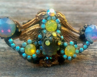"""Ring """"ZOEIN"""", large ring, opal ring, Art Nouveau ring, crystal ring"""