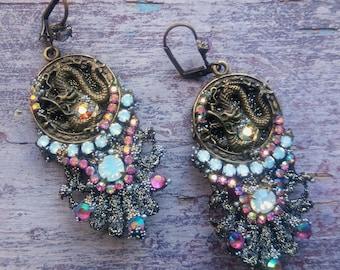 """Earrings """"FANTASTIC BESTIARY / Dragon Rose"""" earrings, baroque earrings, dragon earrings"""