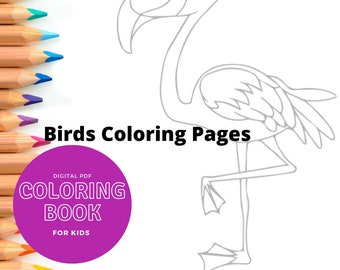 20 Printable coloring pages - Birds - Print and color kids coloring sheets - 20 pages