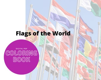 Printable coloring pages - Flags of the World - Print and color coloring sheets 100 pages