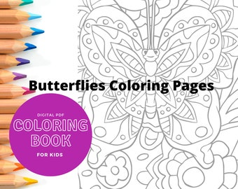 15 Printable coloring pages - Butterflies - Print and color kids coloring sheets - 15 pages