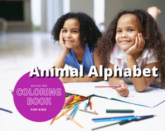 26 Printable coloring pages - Animal Alphabet - Print and color kids coloring sheets - 26 pages