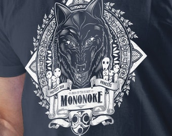 T Shirt of my Mononoke Hime Anime inspired Wolf Forest Spirit Art for Men and Women by Barrett Biggers