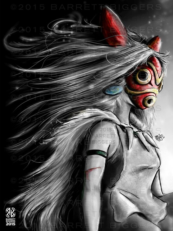 Princesse Mononoke San Fury Peinture Numerique Musee Signe Etsy
