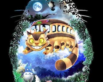 Totoro Miyazaki Anime Inspired Cat Bus and Friends by JP Perez and Barrett Biggers Premium Quality Giclee Archival Print