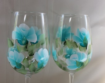 Hand Painted Wine Glasses - Teal Roses  (Set of 2)