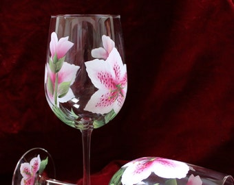Hand Painted Wine Glasses -Stargazer Lily  Pink and White (Set of 2)