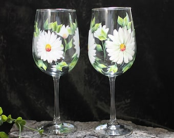 Hand Painted Wine Glasses - Daisies White (Set of 2)