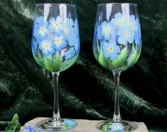 Hand Painted Wine Glasses - Forget-Me-Not (Set of 2)