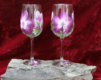 Hand Painted Wine Glasses - Colorado Columbine (Set of 2)
