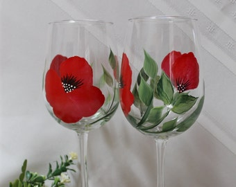 Hand Painted Wine Glasses - Red Poppy (Set of 2)