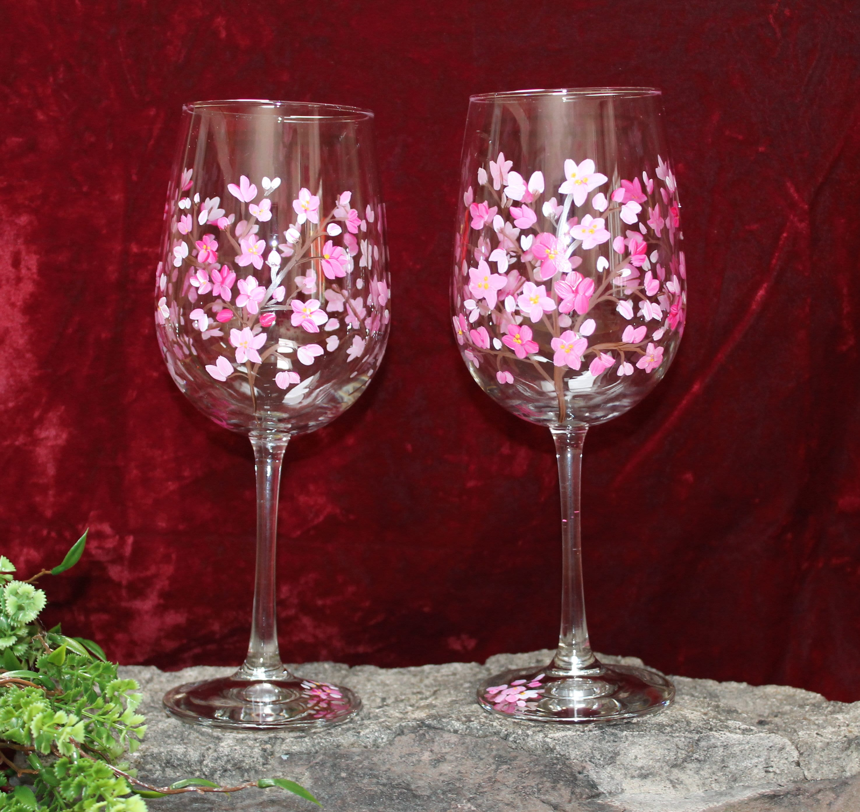 Hand Painted Wine Glasses (Set of 2) Cherry Blossom tree