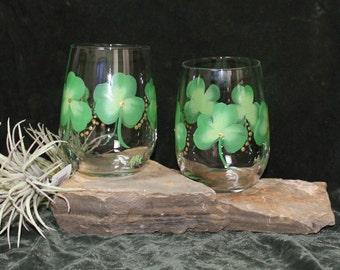 Hand Painted Irish Stemless Wine Glasses (Set of 2)
