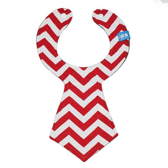 NEW Baby Bib Red and White Chevron pattern