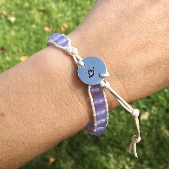 Eating Disorder Awareness Single Wrap Bracelet W Periwinkle Etsy