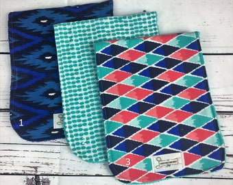 Blue, Turquoise, Red Gender Neutral Burp Cloths