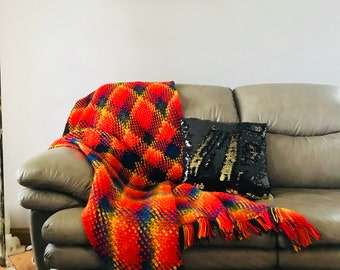 Rainbow Argyle Throw