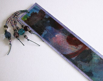 Modern handmade bookmark / abstract design / hand painted / blue / purple / multicolor / with beads / BK-148