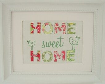 HOME SWEET HOME Applique and Embroidered Picture