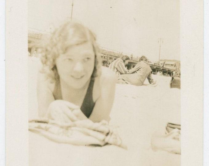 Vintage Snapshot Photo: Gal at Beach, June 22, 1931 [812758]