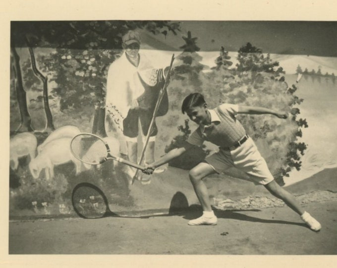 Tennis Player, 1930s [Former Yugoslavia]: Vintage Snapshot Photo [811742]