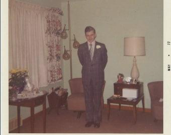 Vintage Snapshot Photo: Check Suit, 1972 (74572)