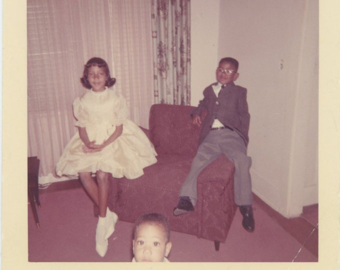 Vintage Snapshot Photo: Three Kids, 1960s [85674]