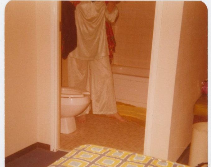 Vintage Snapshot Photo: Pajamas, Bathroom Abstract, 1970s [812758]