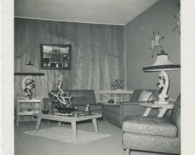 Vintage Snapshot Photo: Mid Century Modern Living Room, c1950s [84668]