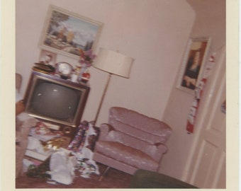 "Xmas 1964 ""Tilted camera accidentally snapped"" Vintage Snapshot Photo Kodacolor Print [85674]"