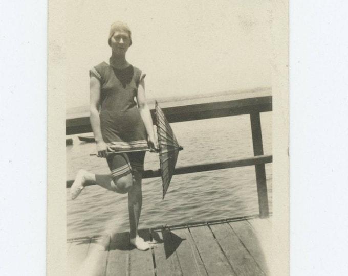 Vintage Snapshot Photo: Gal in Swimsuit, Parasol, c1920s (75584)