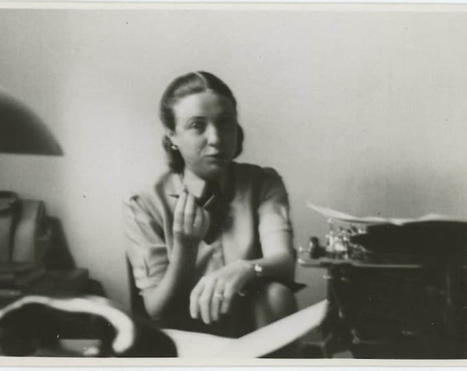Woman with Typewriter, c1940s: Vintage Snapshot Photo (73553)