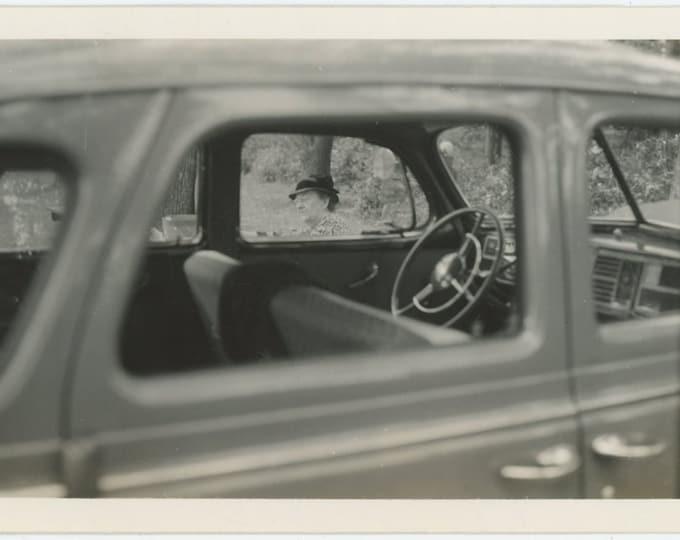 Vintage Snapshot Photo: Woman Framed in Car Window, 1942 (88712)