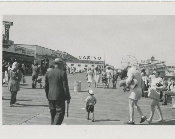 Boardwalk, Seaside Heights, NJ, c1940s: Vintage Snapshot Photo [82650]