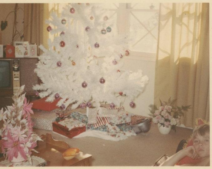 Vintage Kodacolor Snapshot Photo: Child, White Xmas Tree, TV 1966 (610512)