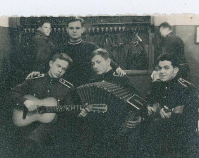 Soviet Soldiers Jamming in Coat Room, c1940s: Vintage Snapshot Photo [810733]