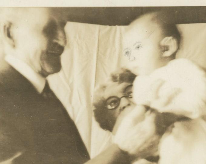 Altered Photo of Baby & Grandparents: Vintage Snapshot, c1930s [89723]