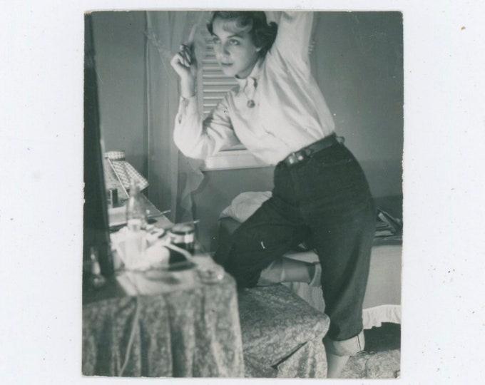 Vintage Snapshot Photo: Fixing Her Hair, 1950s [812754]
